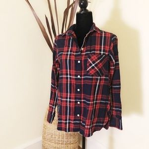 Old Navy Flannel Navy Red Plaid button down.